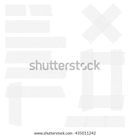 Pieces of grey transparent adhesive tape on white background, sticky tape, vector eps10 illustration - stock vector