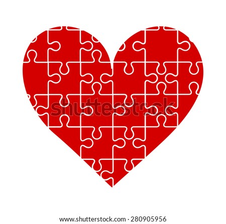 Pieces of jigsaw puzzle put together forming a big red heart, symbol of love. vector art image illustration, isolated on white background, eps10 - stock vector