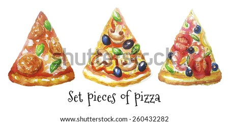 pieces of pizza - stock vector