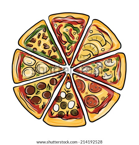 Pieces Pizza Sketch Your Design Stock Vector 214192528 ...