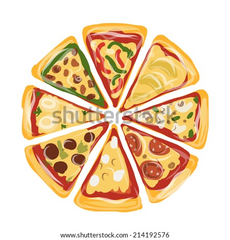 Pieces of pizza, sketch for your design - stock vector