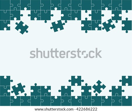 Pieces of the puzzle black on a white background. Space for your text. - stock vector