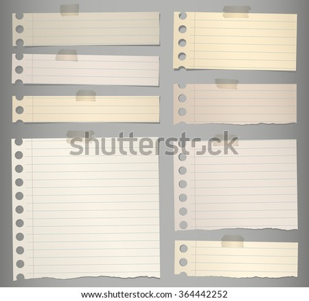 Pieces of torn brown lined note paper with adhesive tape - stock vector