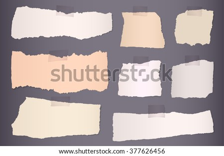 Pieces of torn colorful blank paper on dark background - stock vector