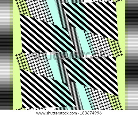 Pied de poule patterned and striped patterned fabric print design. - stock vector