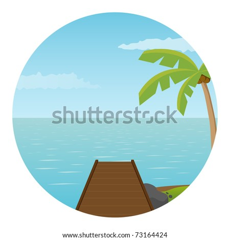 Pier on the island. Vector illustration. - stock vector
