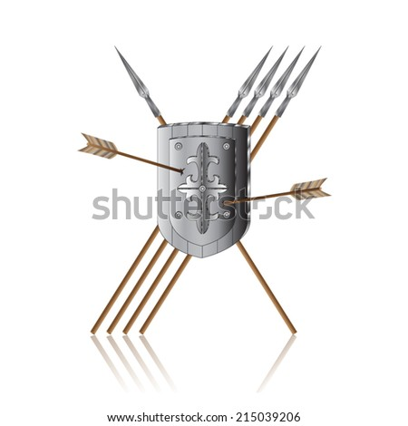 pierced by arrows iron shield with spears - stock vector