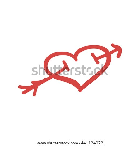 Pierced Heart Isolated Icon Hand Drawn Artwork Vector - stock vector