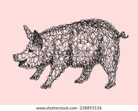 Pig abstract doodle style, animal black and white drawing. Good use for illustration, symbol, mascot, icon, or any design you want. Easy to use, edit, or change color. - stock vector