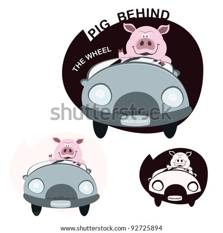 pig driving car - stock vector