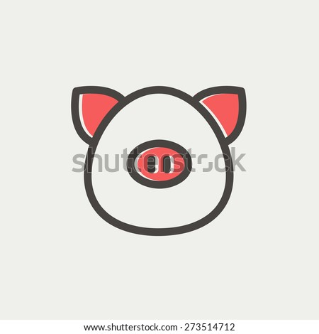 Pig face icon thin line for web and mobile, modern minimalistic flat design. Vector icon with dark grey outline and offset colour on light grey background. - stock vector