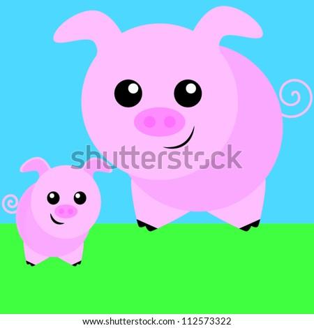 Pig family - stock vector