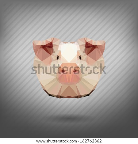 pig in the style of origami - stock vector