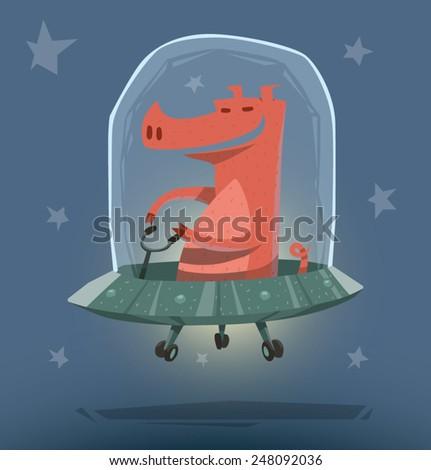 Pig in Ufo, vector - stock vector