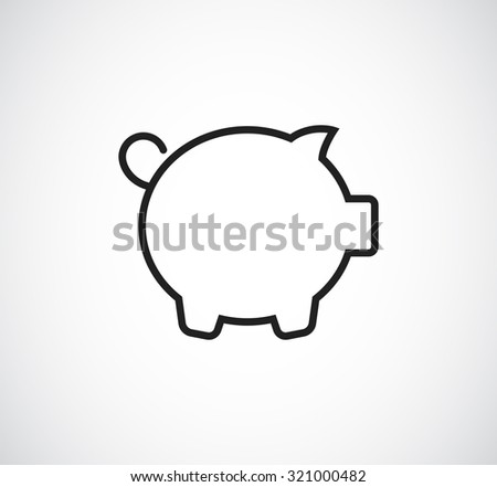 pig money bank outline icon - stock vector