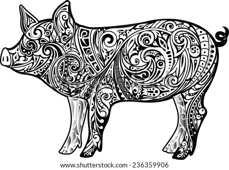 Pig, monochrome - stock vector