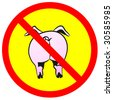 Pig on warning sign. H1N1.  Vector illustration. - stock vector