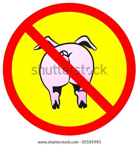 Pig on warning sign. H1N1.  Vector illustration. - stock vector