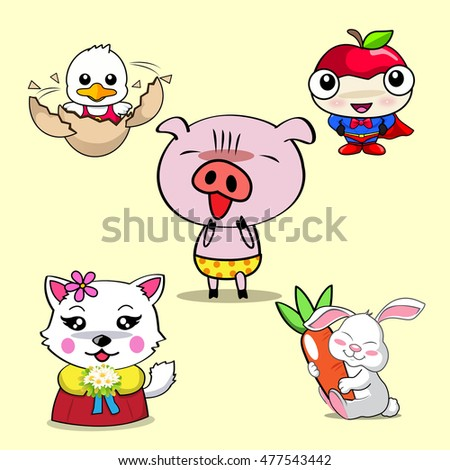 Pig Rabbit chick cat and apple hero cartoon, vector 10