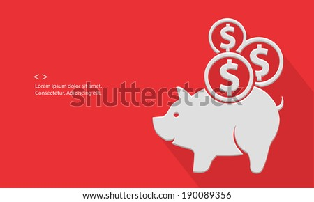 Pig saving money,blank for text,red version,vector - stock vector