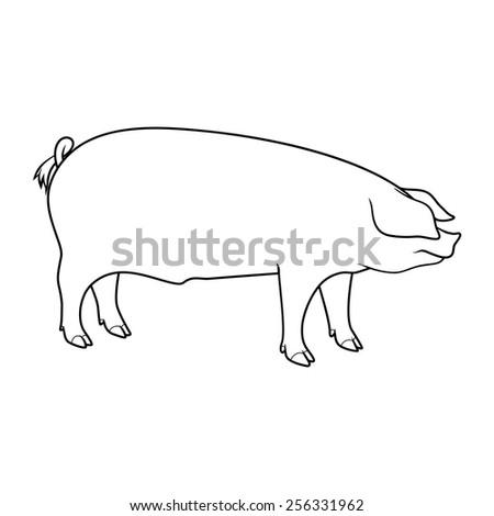 pig silhouette outline vector stock vector 256331962 - shutterstock