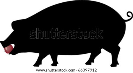 pig with apple in mouth