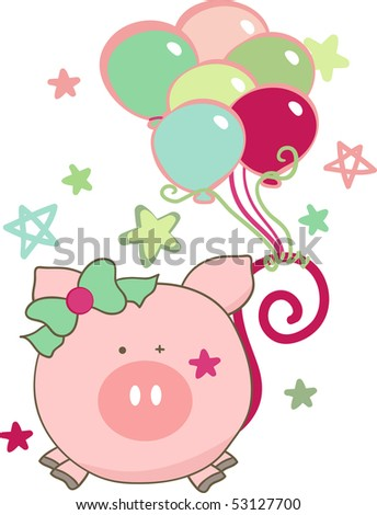 pig with balloons - stock vector