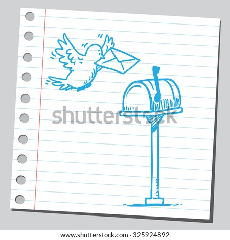 Pigeon and mai box - stock vector