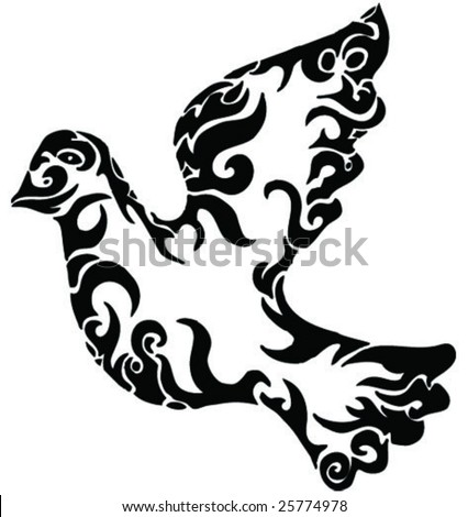 pigeon from shapes - stock vector