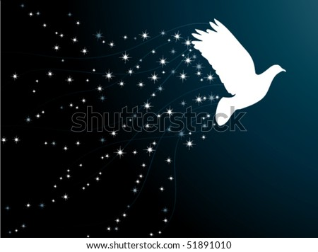 Pigeon in the star sky - stock vector