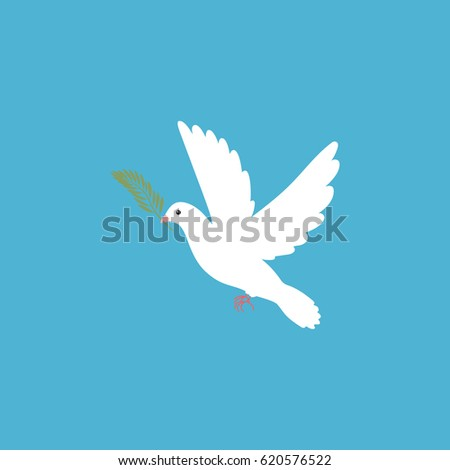 Pigeon with olive branch. Vector illustration.