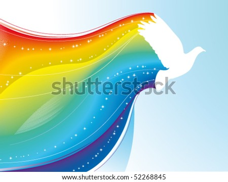 Pigeon with rainbow - stock vector