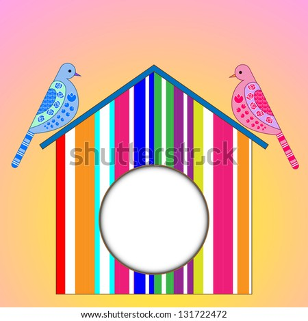 pigeons and birdhouse - stock vector