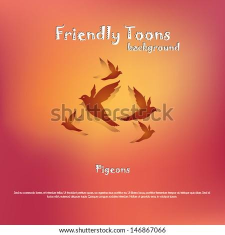 Pigeons Background - stock vector