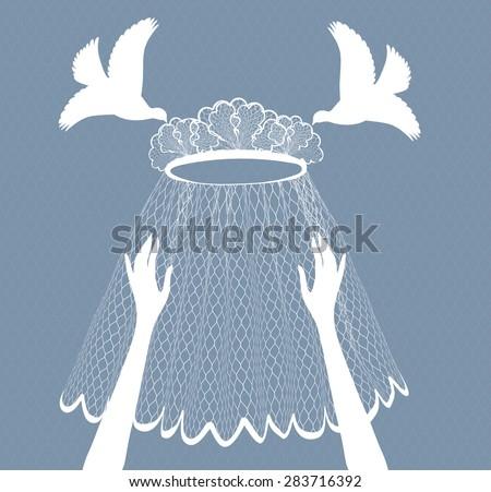 Pigeons brought  wedding veil in the hands of the bride - stock vector