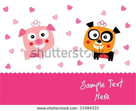 piggy and panda couple love - stock vector