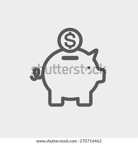 Piggy bank and dollar coin icon thin line for web and mobile, modern minimalistic flat design. Vector dark grey icon on light grey background. - stock vector