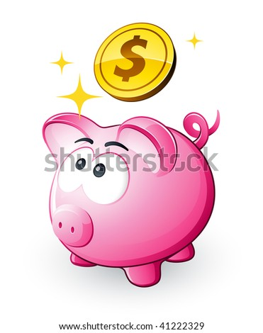 Piggy bank and dollars - stock vector