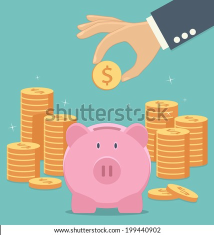 Piggy bank and hand with coin icon - stock vector