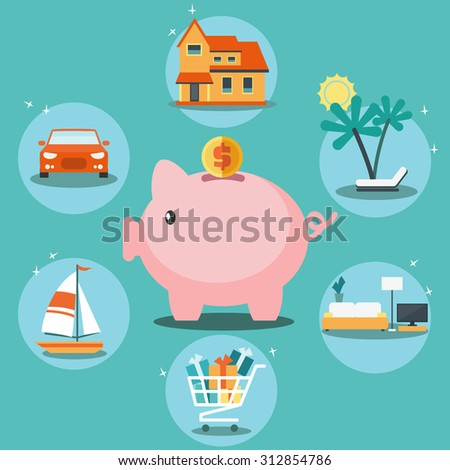 Piggy bank and 6 icons: house, car, yacht, shopping cart, furniture and holiday. Saving and investing money and financial planning vector concept. Insurance, credit card, mortgages and banking service - stock vector