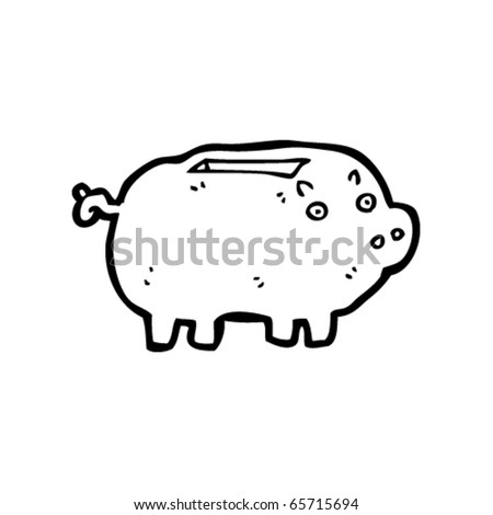 piggy bank cartoon - stock vector