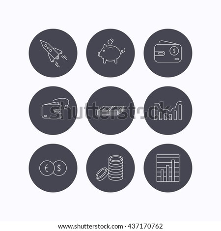 Piggy bank, cash money and startup rocket icons. Wallet, currency exchange and dollar usd linear signs. Chart, coins and dynamics icons. Flat icons in circle buttons on white background. Vector - stock vector