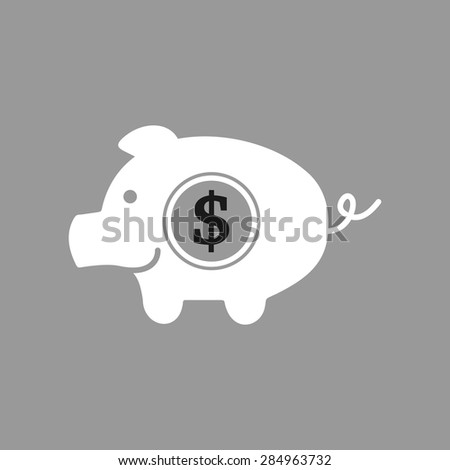 piggy bank dollar on grey background
