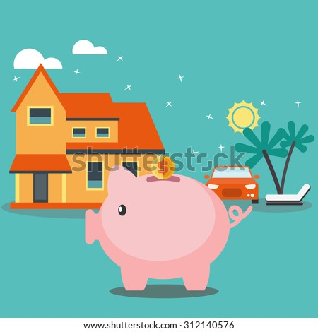 Piggy bank dreaming house, car and holiday. Saving and investing money concept. Future financial planning concept. Modern vector flat design. Insurance, credit cards, mortgages and banking service - stock vector