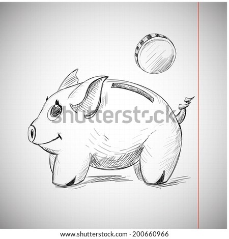 Piggy Bank Hand Drawing on Copy-book Sheet of paper. Money Sketch for your Design. - stock vector