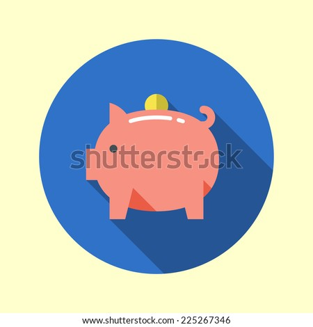 Piggy bank icon. Flat design long shadow. Vector illustration. - stock vector