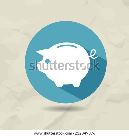 Piggy bank icon in flat style in a blue round with a shadow conceptual of start ups. Old paper background - stock vector