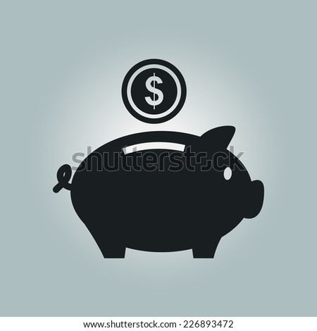 Piggy bank icon. Pictograph of moneybox - stock vector