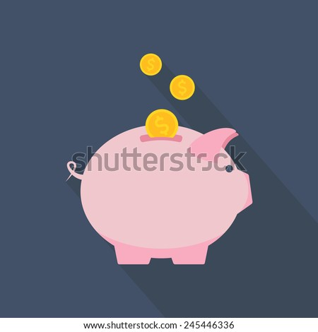 Piggy bank icon. Piggy bank with coins. Flat design. Vector illustration - stock vector
