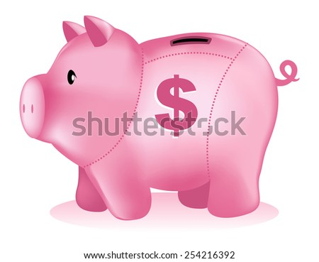 Piggy bank illustration with dollar mark isolated on white background - stock vector